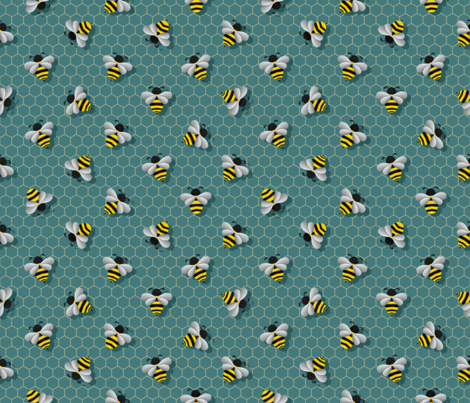 Small Geometric Bumbles on Dark Green fabric by artsytoocreations on Spoonflower - custom fabric