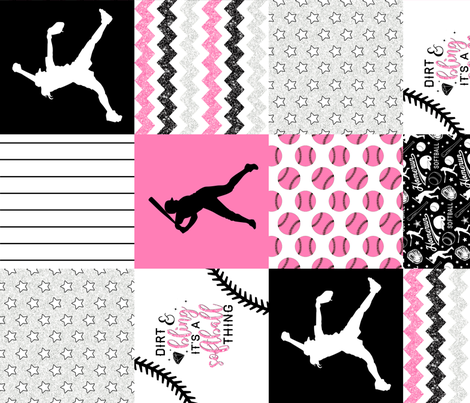Softball//Dirt & Bling//Pink - Wholecloth Cheater Quilt - Rotated fabric by longdogcustomdesigns on Spoonflower - custom fabric