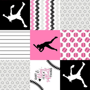 Softball//Dirt & Bling//Pink - Wholecloth Cheater Quilt - Rotated