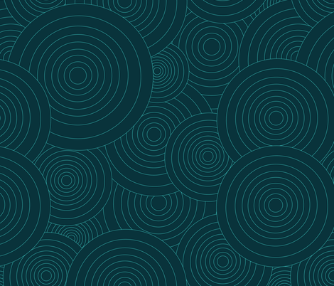 AQUA AND TEAL CONCENTRIC WHEELS fabric by jezlisquaredarts on Spoonflower - custom fabric
