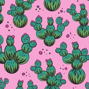 circle and dot cacti - pink