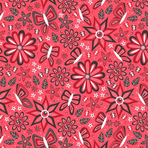 Butterfly Garden (Red)