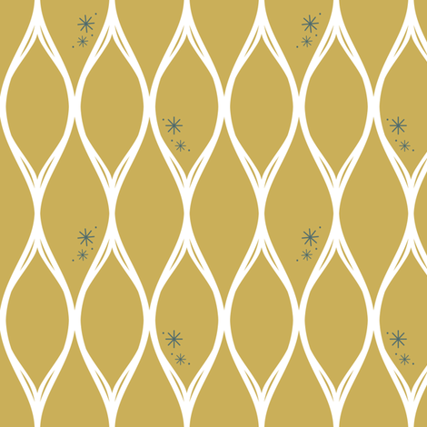 Retro Teardrops-Gold fabric by huffernickel on Spoonflower - custom fabric