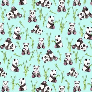 Panda Beary Love on Aqua