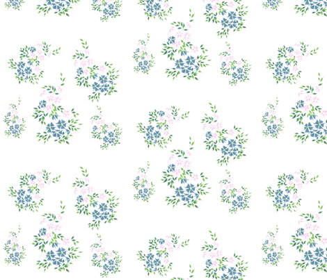 Flower - Blue and Pink fabric by chiho_y on Spoonflower - custom fabric