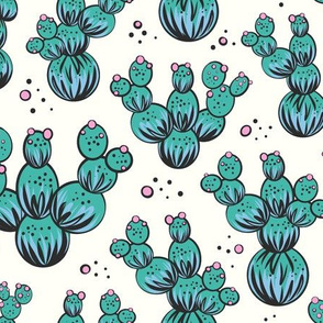 circle and dot cacti - aqua