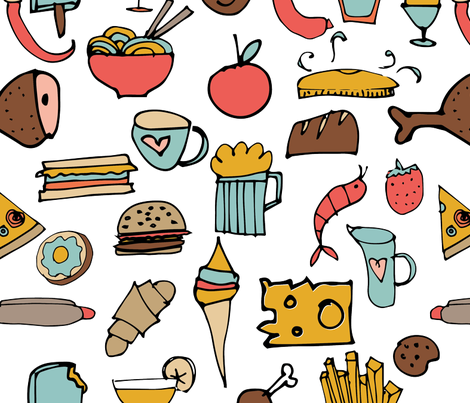 Food Frenzy White fabric by bruxamagica on Spoonflower - custom fabric