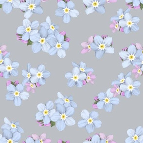 Forget-me-nots on mauve grey