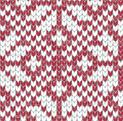 (small scale) fair isle snowflake (red) || winter knits reversed