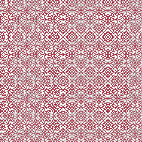 (small scale) fair isle snowflake (red) || winter knits reversed fabric by littlearrowdesign on Spoonflower - custom fabric