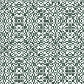 (small scale) fair isle snowflake (green) || winter knits reversed