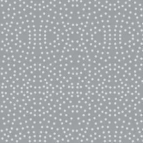 Dotty Eyelet Lace of Silver Mist on Mystic Grey - Medium Scale