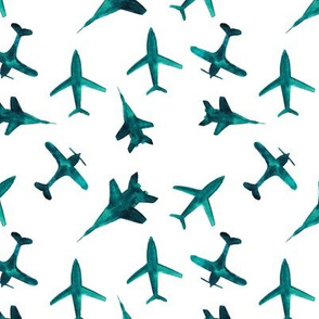 Emerald airplanes || watercolor pattern for boys