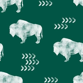 distressed buffalo on green
