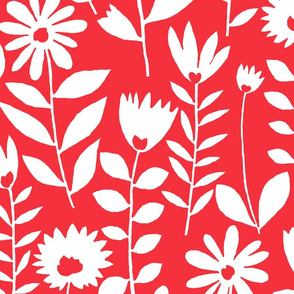 Cutout flower (white on red)