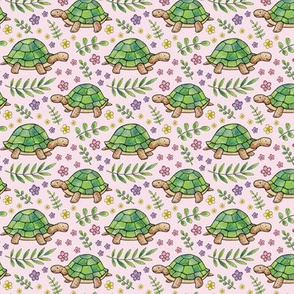 Tortoises and Flowers on Pale Pink - smaller version