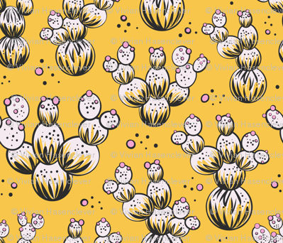 circle and dot cacti - yellow