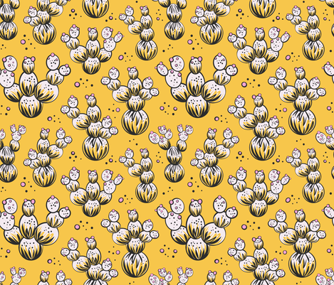circle and dot cacti - yellow fabric by vivdesign on Spoonflower - custom fabric