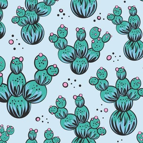 circle and dot cacti - blue