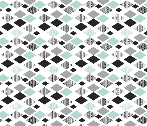 Aztec mint blue black and white geometric diamond fabric  rotated fabric by littlesmilemakers on Spoonflower - custom fabric