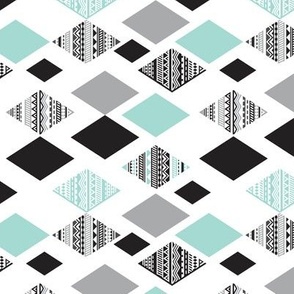 Aztec mint blue black and white geometric diamond fabric  rotated