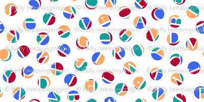mini ditsy alphabet dots, fishing colors