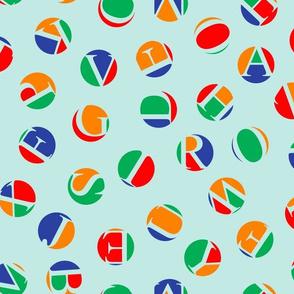 ditsy alphabet dots, circus colors