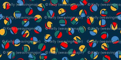 ditsy alphabet dots, retro circus colors
