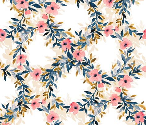 Interlocking Watercolor Floral Blossom Wreaths - large fabric by micklyn on Spoonflower - custom fabric