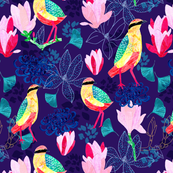 Colourful songbirds and florals