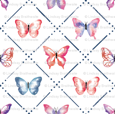 Butterfly Garden in Red and Blue