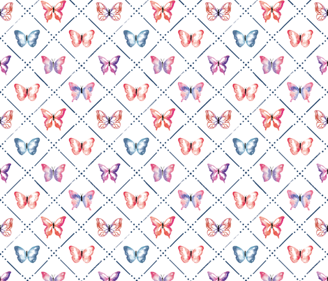 Butterfly Garden in Red and Blue fabric by sugarfresh on Spoonflower - custom fabric