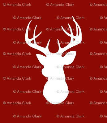 Deer- White on Red