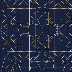 Angles gold on navy gold lines gold c