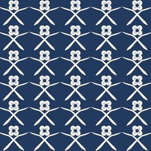 Posie Crossing: Navy & Cream Floral Geometric Pattern