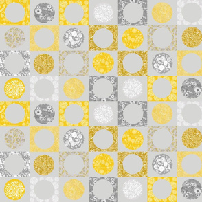 Circles of grey and yellow