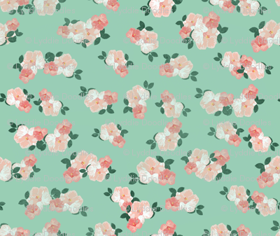Faded Hibiscus Flowers Pattern