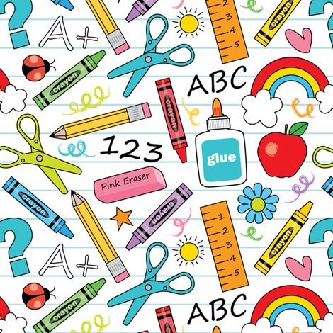 school supplies-on-white fabric by lilcubby on Spoonflower - custom fabric