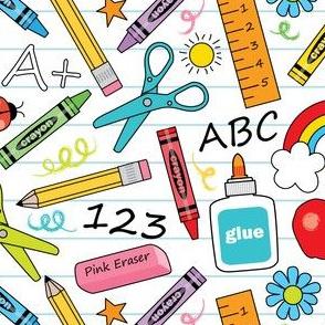 school supplies-on-white