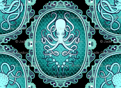 Steampunk Octopus Cameo 5 Black Background