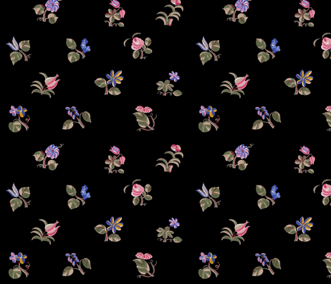A Thousand Flowers ~ Black   fabric by peacoquettedesigns on Spoonflower - custom fabric