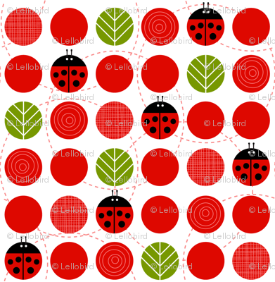 Ladybug Dots with Leaves