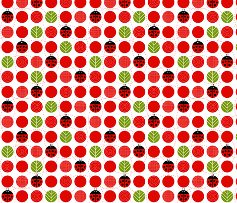 Ladybug Dots with Leaves fabric by lellobird on Spoonflower - custom fabric