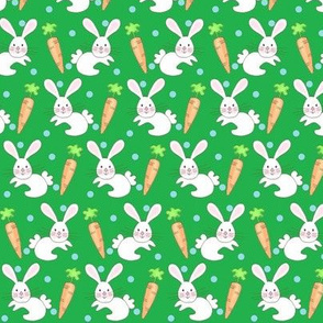 Little One - baby bunny n carrot green / blue dots