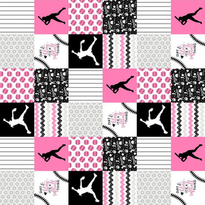3 inch Softball//Dirt & Bling//Pink - Wholecloth Cheater Quilt - Rotated
