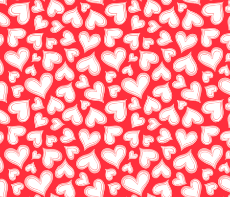 Valentine-love-hearts-red-pink-Large fabric by paisleypower on Spoonflower - custom fabric