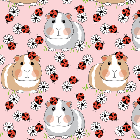 guinea-pigs-with ladybugs and flowers on pink fabric by lilcubby on Spoonflower - custom fabric