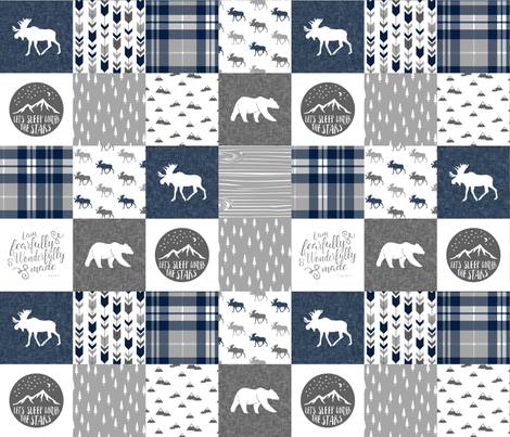 Navy and Grey Fearfully and Wonderfully Made  - Patchwork woodland quilt top  fabric by littlearrowdesign on Spoonflower - custom fabric