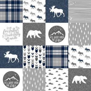 Navy and Grey Fearfully and Wonderfully Made  - Patchwork woodland quilt top