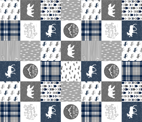 Navy and Grey Fearfully and Wonderfully Made  - Patchwork woodland quilt top  (90) fabric by littlearrowdesign on Spoonflower - custom fabric